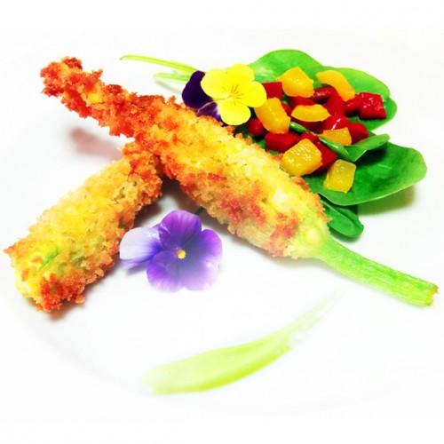 Fiori di zucca croccanti in panko bread, ripieni di sgombro fresco con aceto di lampone aromatizzato