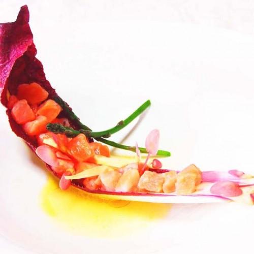 Tartare di salmone in dressing di arancia e mandarino, con radicchio Trevigiano Tardivo