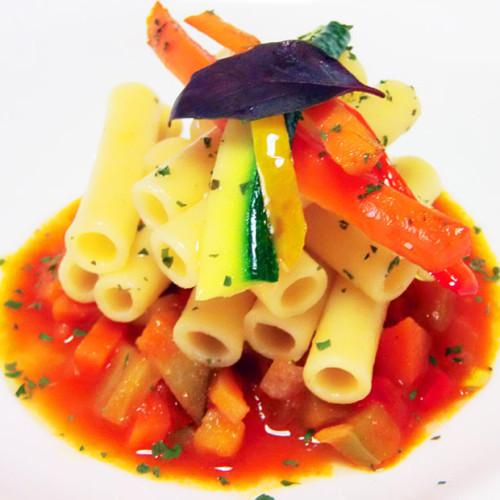 Mezzanelli con verdure al wok e colatura di alici di Cetara