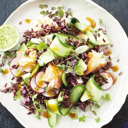 Salmone al vapore di lime e riso rosso fresco pesce - Cucina a vapore ricette ...