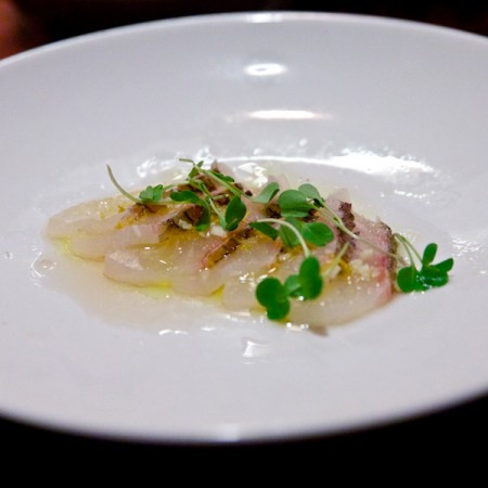 Sashimi di orata aglio rosso succo di yuzu e crescioni for Ricette alta cucina