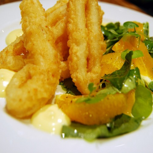 Calamari in tempura e maionese all'arancia