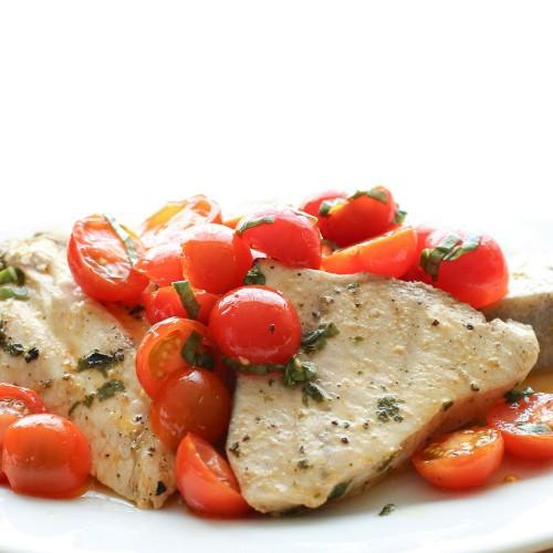 Pesce spada con lime, tamari e pomodorini