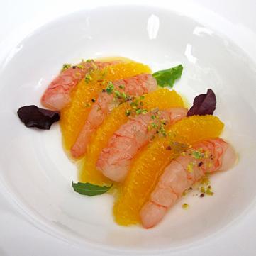 Insalata di gamberi e arancia marinata*