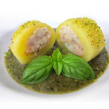 Patate Farcite Di Pesce Spada Su Vellutata Al Timo E Basilico Fresco