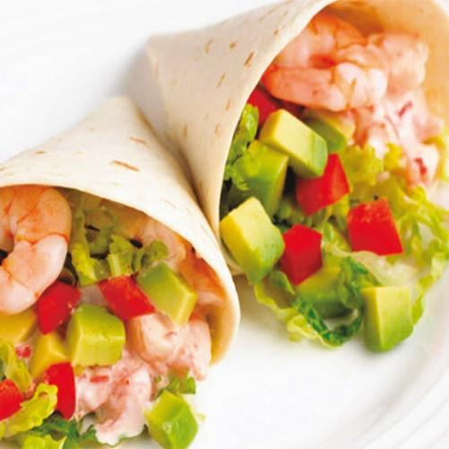 Tacos di gamberi al vapore e avocado
