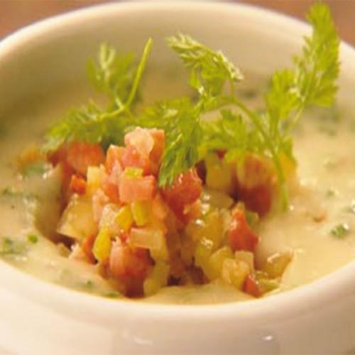 Crema di ostriche e patate, con guanciale affumicato