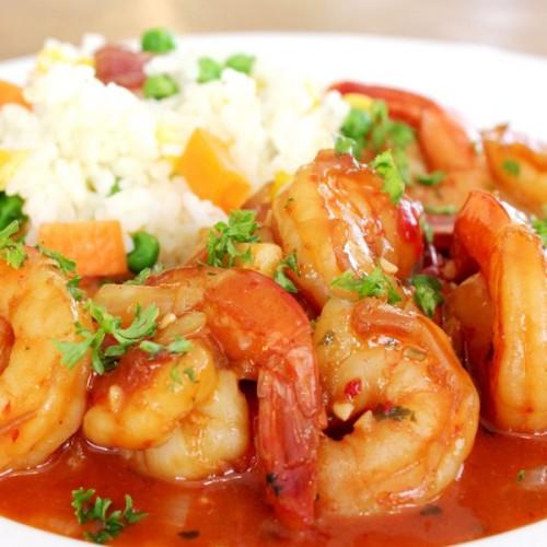 Gamberi rossi di Mazara su gazpacho caldo agrodolce-piccante