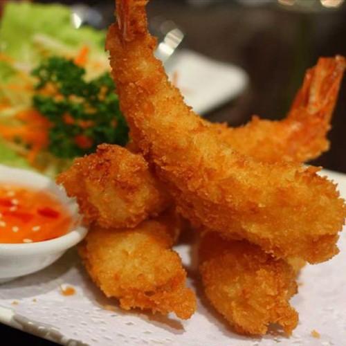 Gamberoni in tempura di semola rimacinata